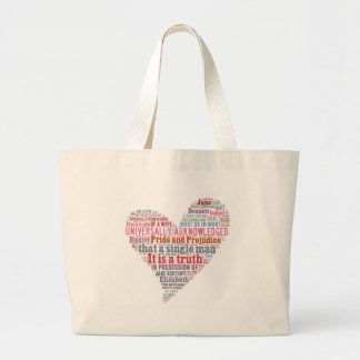 Pride and Prejudice Word Cloud Pink Large Tote Bag