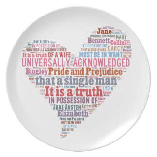 Pride and Prejudice Word Cloud Pink Plate