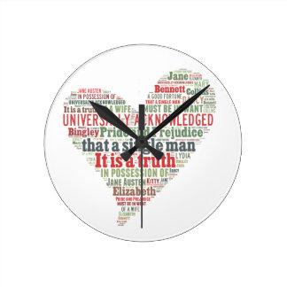 Pride and Prejudice Word Cloud Round Clock