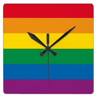 Pride | Colorful Rainbow Design Square Wall Clock