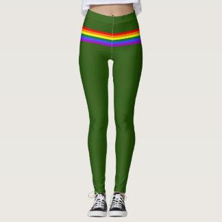 Pride flag rainbow custom Leggings forest green