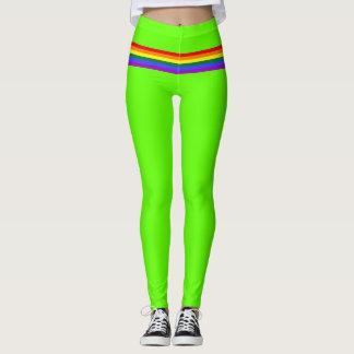 Pride flag rainbow custom Leggings lime green