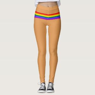Pride flag rainbow custom Leggings peach