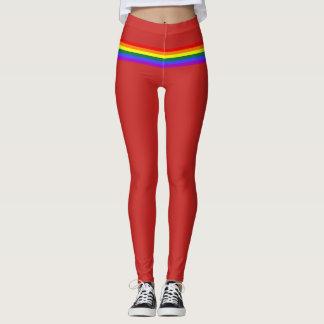 Pride flag rainbow custom Leggings  red