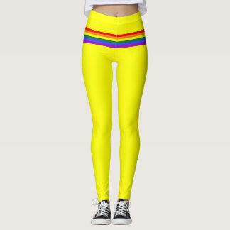 Pride flag rainbow custom Leggings yellow