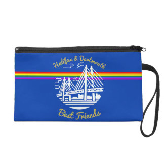 Pride flag rainbow custom  wristlet purse blue
