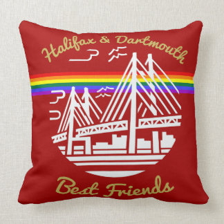 Pride Halifax Dartmouth friends rainbow pillow red