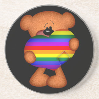 Pride Heart Teddy Bear Drink Coasters
