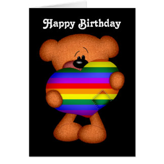 Pride Heart Teddy Bear Happy Birthday Card