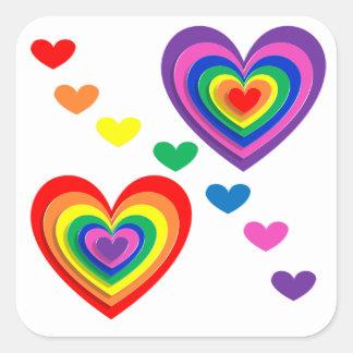 pride hearts square sticker