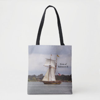 Pride of Baltimore II all over tote bag