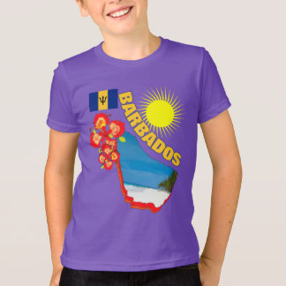 Pride Of Barbados Flower & Map  Sunny Graphic T-Shirt