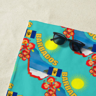 Pride Of Barbados Flower & Map Sunny Holiday Beach Towel