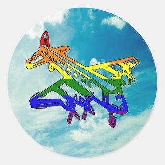 Pride Plane Round Sticker