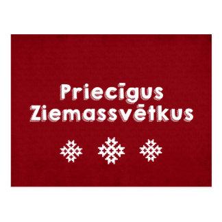 Priecīgus Ziemassvētkus Merry Christmas Latvian Postcard