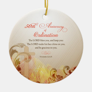 Priest, 50th Anniversary of Ordination Blessing Ceramic Ornament