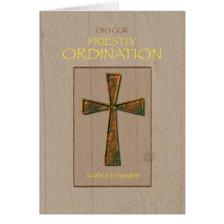 Priest Ordination Congratulations, Metal Cross Greeting Card