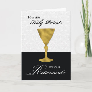 Priest Retirement, Gold Chalice, on Black & White Card