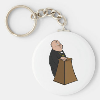 Priest Standing At A Pulpit Key Ring