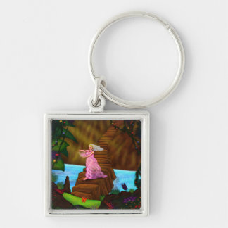 priest woman with crystal flower in jungle key ring