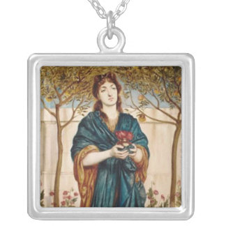 Priestess Offering Poppies - Silver Necklace 1B