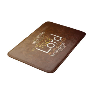 Priestly Blessing on Copper Brown Damask Bath Mat