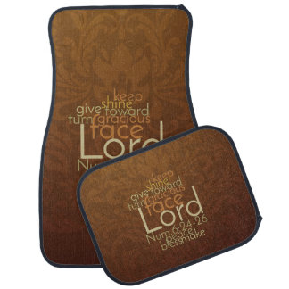 Priestly Blessing on Copper Brown Damask Car Mat
