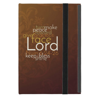 Priestly Blessing on Copper Brown Damask iPad Mini Cover