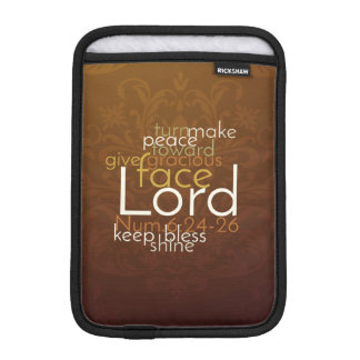 Priestly Blessing on Copper Brown Damask iPad Mini Sleeve