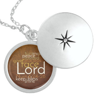 Priestly Blessing on Copper Brown Damask Locket Necklace