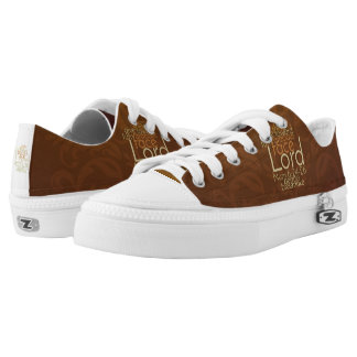 Priestly Blessing on Copper Brown Damask Low Tops