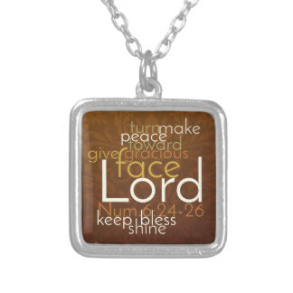 Priestly Blessing on Copper Brown Damask Silver Plated Necklace