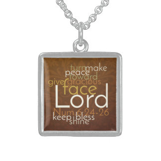 Priestly Blessing on Copper Brown Damask Sterling Silver Necklace