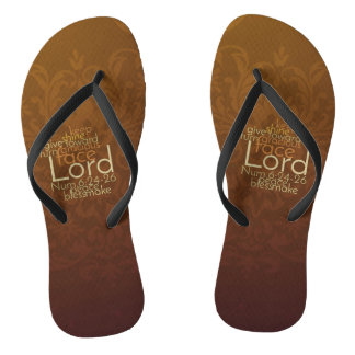 Priestly Blessing on Copper Brown Damask Thongs