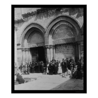 Priests in front of Holy Sepulchre Jerusalem 1880 Poster
