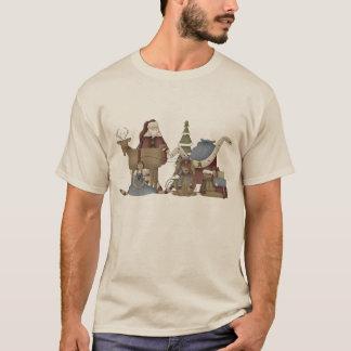 Prim Christmas Holiday scene mens t-shirt