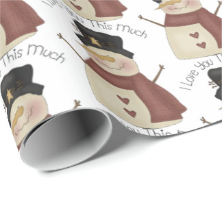 Prim Christmas love you snowman tiled wrap Wrapping Paper