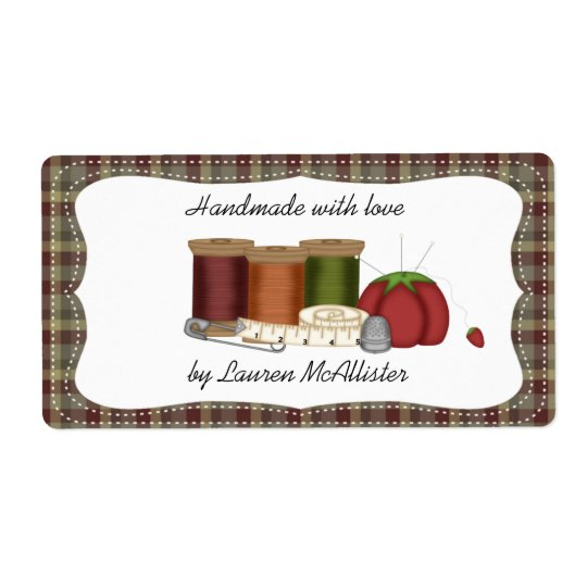 Prim Country Handmade Sewing Label