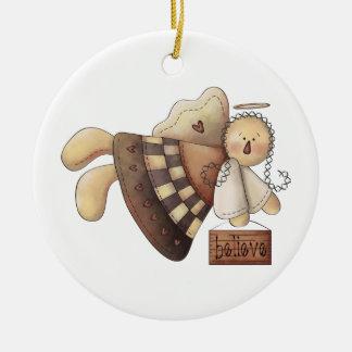 Prim Gingerbread Angel Crossing Believe Ornament