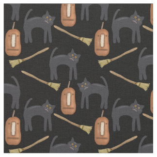"Prim Halloween Cats, Pumpkins, Brooms, 56"" Fabric"