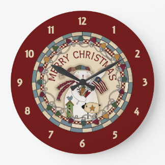 Prim Merry Christmas Snowmen Large Clock