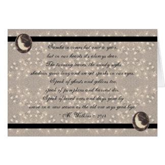 Prim Moon and Stars Samhain Original Poetry Card