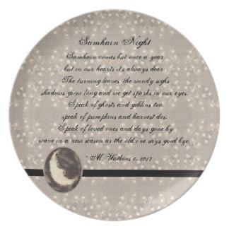 Prim Moon and Stars Samhain Original Poetry Plate