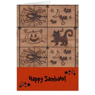 Prim Samhain Patches Woodburned Retro Card