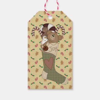 Prim Stocking of Joy - Teddy Bear & Gingerbread Gift Tags