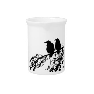 Prim style crows on branch in Black & White Pitcher