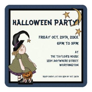 Prim Witch Children's Halloween Party Invite