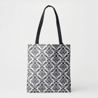 Prima Damask 2Way Pattern Black & White Tote Bag