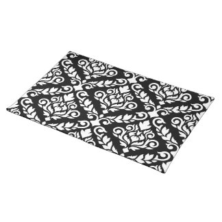 Prima Damask Lg Ptn White on Black Placemat