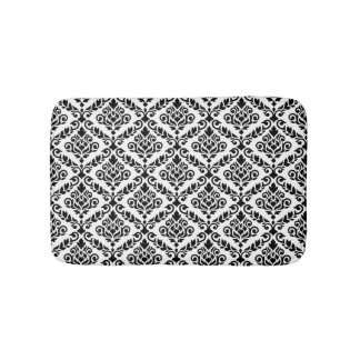 Prima Damask Pattern Black on White Bath Mats